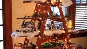 Ladder, Ladder display and Christmas villages on Pinterest