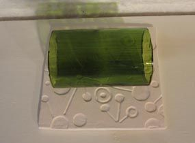 kiln wash on a ceramic mold, oh the possibilities!!!  www.glasswithapast.com