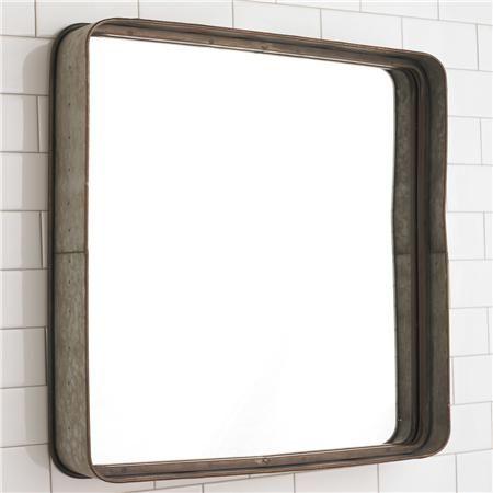 "Metal Galvanized Squared Mirror 23.5""x23.5"""
