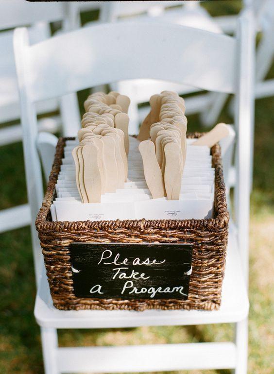 beach fan wedding program / http://www.deerpearlflowers.com/ingenious-ideas-for-an-outdoor-wedding/2/