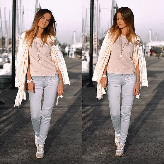 Get this look: http://lb.nu/look/8488747  More looks by Tamara Bellis: http://lb.nu/tamarabellis  Items in this look:  H&M Shirt, Bershka Jeans, Zara Sneakers, Pink Woman Cardigan, Mango Scarf, Sammydress Watch, Handmade Brooch, Rings And Tings Necklace   #casual #chic #sporty