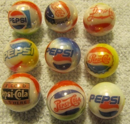 PEPSI COLA LOGO glass marbles 5/8 size
