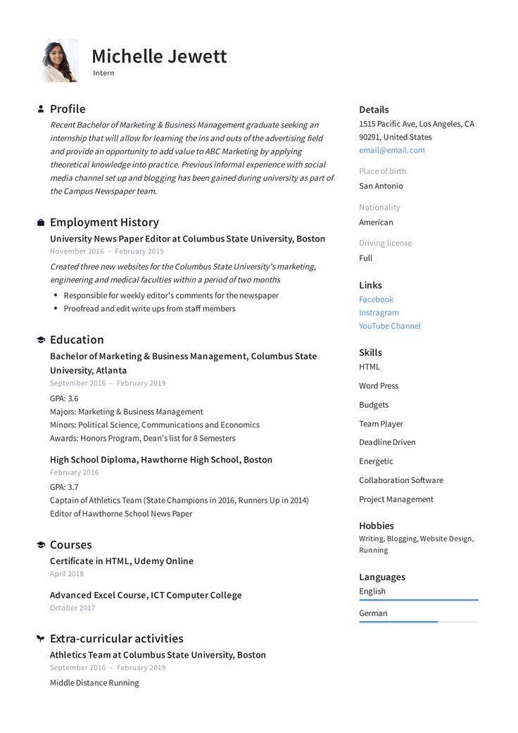 Intern Resume & Writing Guide in 2020 Job resume