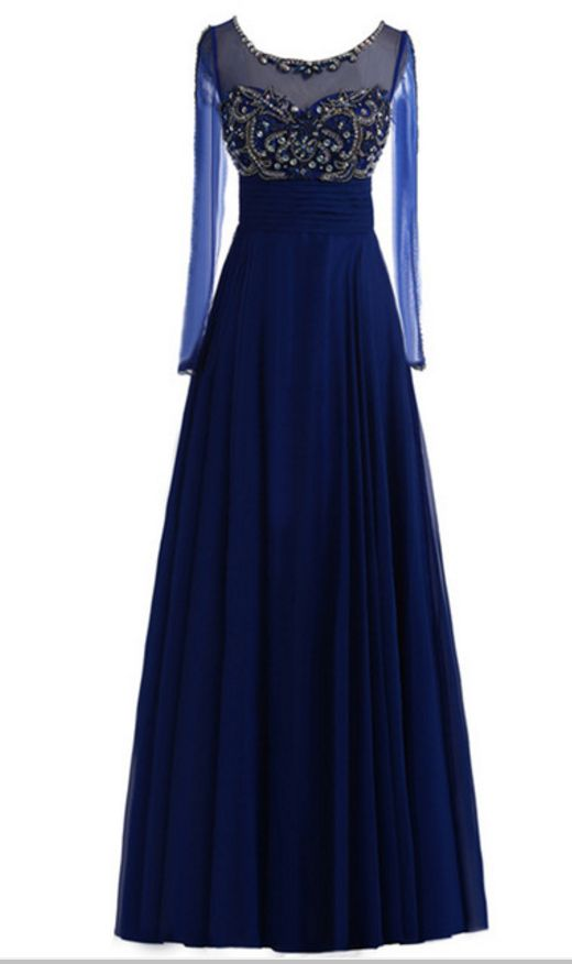 Sexy Fantasy Suspenders, Royal Blue Chiffon Evening Dress, Long-sleeved Crystal Beaded Gown With Lon on Luulla