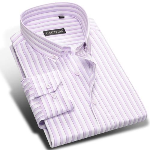 Men's Pink/White Vertical Striped Dress Shirts Long Sleeve Tops Comfortable Pure Cotton Smart Casual Slim-fit Button-down Shirt