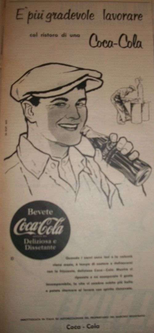 """www.piziarte.net La pubblicità negli anni 50 All'epoca quanti sapevano che la famosa e bella bottiglietta della Coca Cola sarebbe diventata uno dei lavori più noti di Andy Warhol ? dalla rivista settimanale """"Il Tempo"""" 1954"""