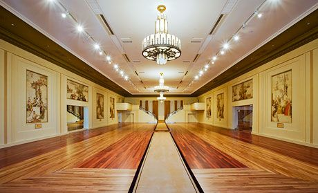 The Myer Mural Hall is on the building's top floor and was designed as a dining room, although it has been used for many types of events as well. It was recently restored to its 1935 appearance.