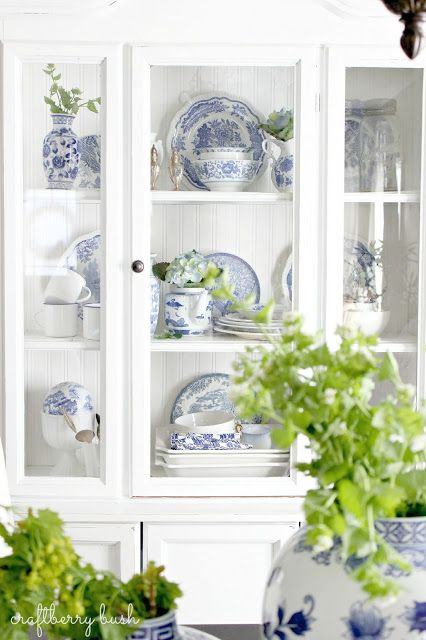 Painted White Cupboard. Hutch. Cabinet + Blue and White Porcelain in the Hutch: Craftberry Bush blog