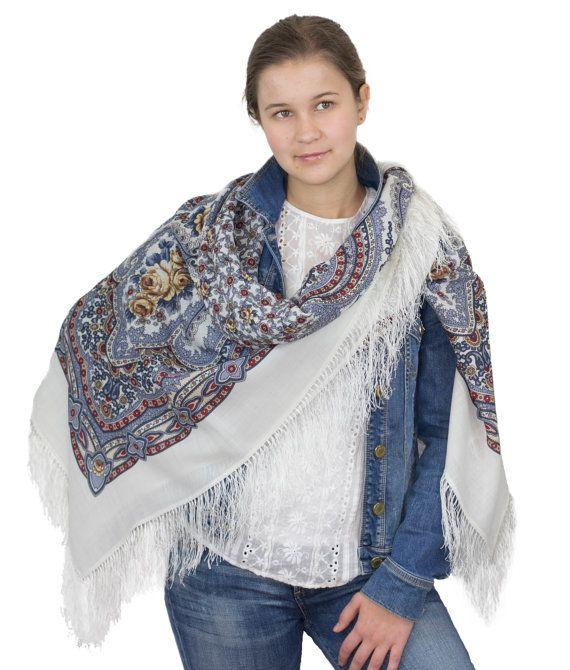 "57"" Russian Shawl Scarf Pavlovo Posad, 100% Wool & silk handmade fringe, up to 16 colors, Vintage design"
