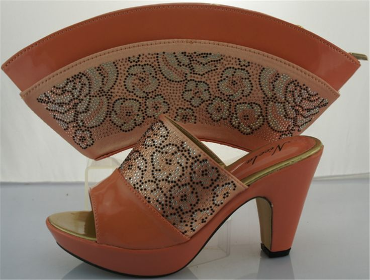(56.25$)  Watch here - http://aiwmf.worlditems.win/all/product.php?id=32615028070 - Free shipping,Italian party shoes and bags/ME2212 Peach color for ladies wedding shoes and bag to matching size 38-42.