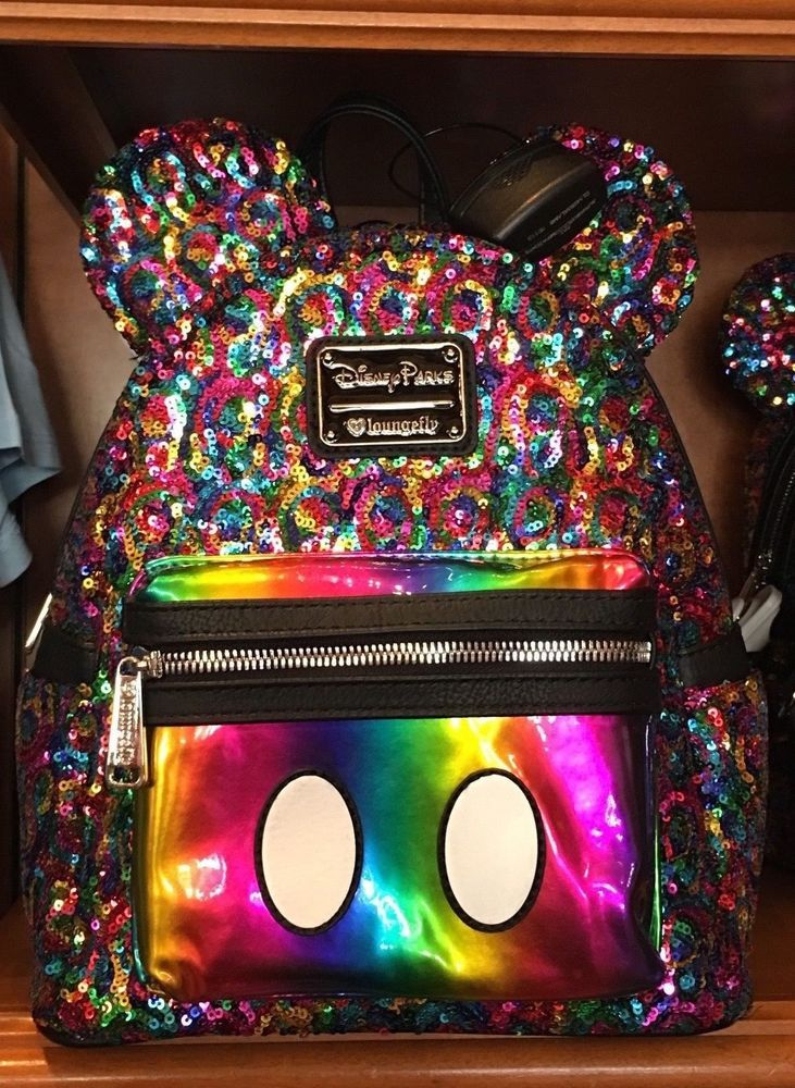 ec8be9d89511 Disney Parks Loungefly Rainbow Sequin Mini Backpack Mickey Mouse Ears NEW  w tags  Loungefly  MiniBackpack