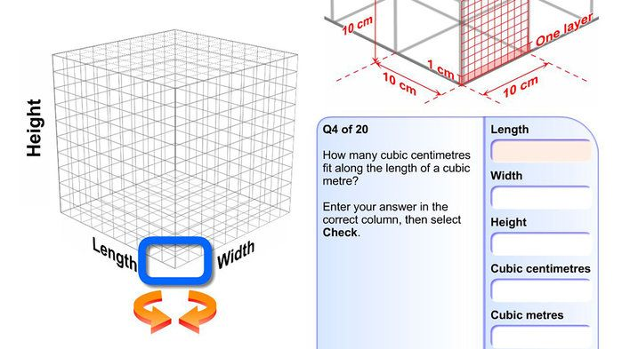 Inside a cubic metre - Mathematics (6,7,8,9). Watch a game show host as he demonstrates the size of a cubic metre (100cm x 100cm x 100cm). See how small a cubic centimetre looks when compared with a cubic metre. Work through a series of questions about the length, width and height of a cubic metre.