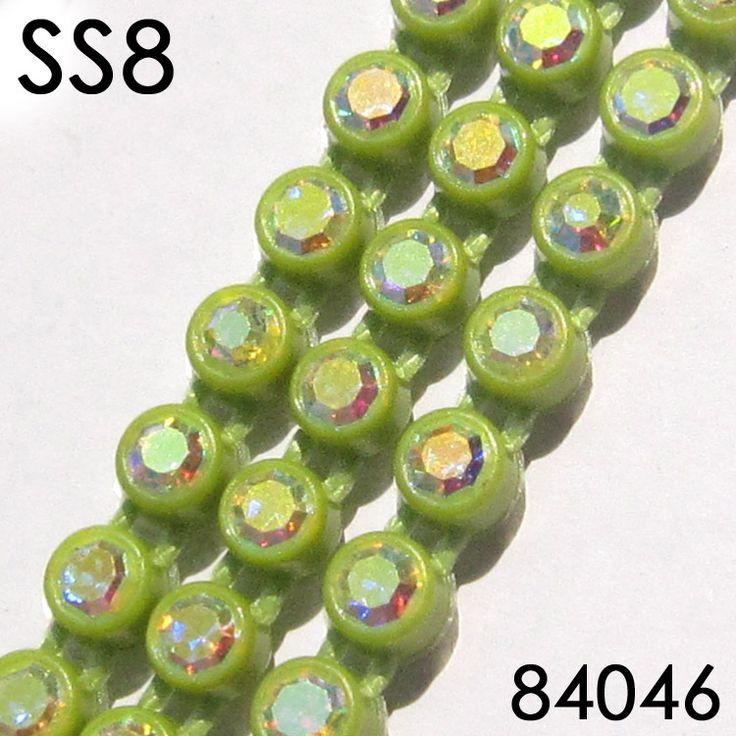 Горный хрусталь пластиковые полосы SS8 пришить DIY однорядные кристалл кромкооблицовочный неоновые зеленые коло, Ab горный хрусталь цепь чашки 10 ярды / много