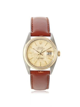 Rolex Men's Datejust Brown/Champagne Linen Leather Watch