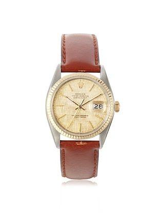 Rolex Men's Datejust Brown/Champagne Linen Leather Watch