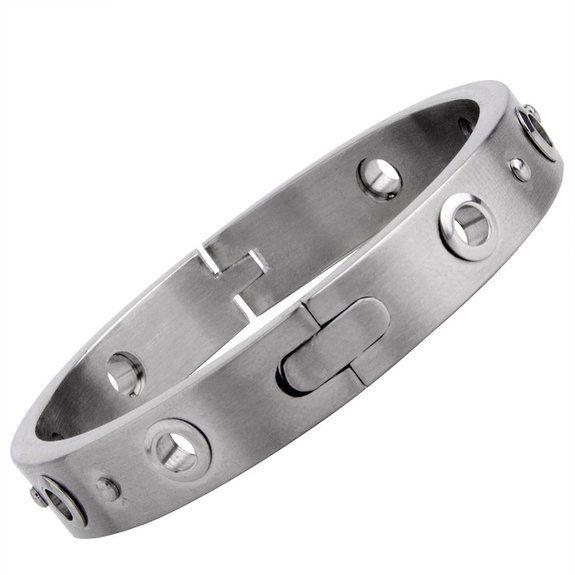 R&B Schmuck Herren Armband Armreif Edelstahl - Handschellen Style, Schlicht (Silber): 23,90€