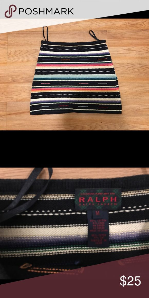 Ralph Lauren Western Print Cotton Knit Mini Skirt 100% Cotton all knit elastic waist mini skirt in a south west Aztec print in black and multi color super cute with cowboy or cowgirl boots and a denim jacket ( well that's how I wore it) Ralph Lauren RRL Skirts Mini
