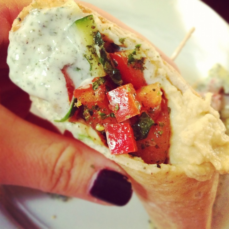 {Vegetarian} Middle Eastern Pita Sandwich Recipe with Cucumber Yogurt Sauce and Hummus