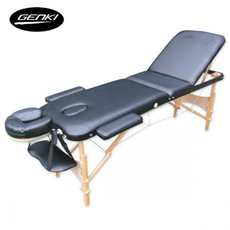 Genki Portable 3-Section Massage Table Chair Bed Foldable &Carry Bag