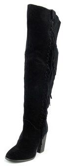 Carlos by Carlos Santana Garrett Women Leather Black Over The Knee Boot.