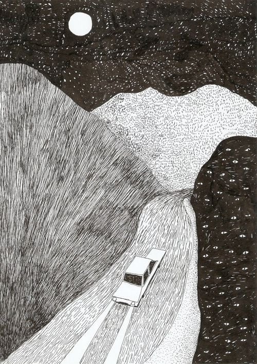Adriana Lozano ( do night painting of the  small hill over hill road by lake hemet. Rabbits darting back and forth in the headlights