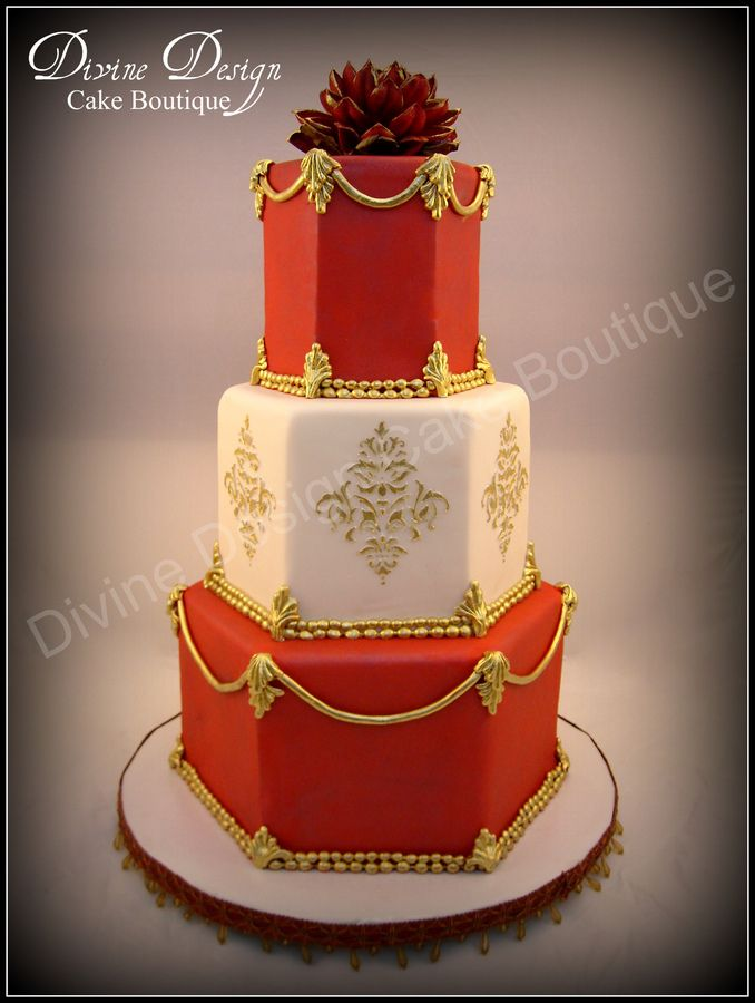 Red And White Fondant. Details Are Fondant Hand Painted With Gold  Highlighter. Damask Was