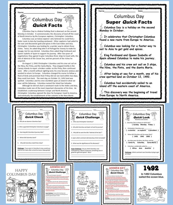 Columbus Day reading comprehension mini lesson.  Great for use in a literacy center, for homework, or morning work.  Three levels of content for easy differentiation.