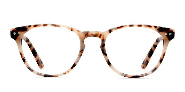 Add some glamour and sophistication with ivory tortoise eyeglasses. This luxurious frame comes in a semi-transparent opaque tortoiseshell acetate finish throughout and features rounded wayfarer shaped lenses. A keyhole nose bridge and double stud accents add a vintage feel. Flexible spring hinges means you won't have to sacrifice comfort for style. @EyeBuyDirect