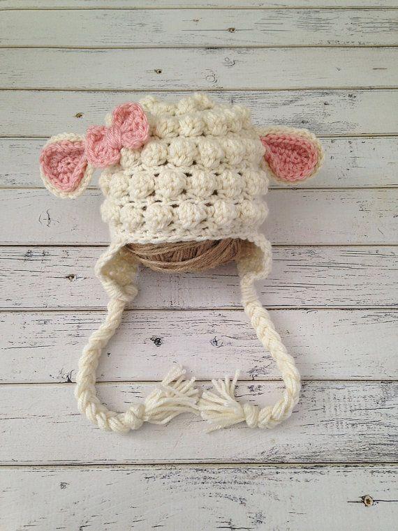 READY TO SHIP Crochet Baby Girl Lamb Hat size by NewYarnCreations