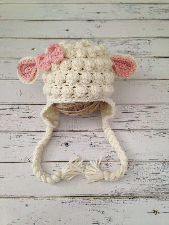 Crochet Baby Girl Lamb Hat, Animal Photo Prop, Baby Sheep Hat, Child Lamb Hat…