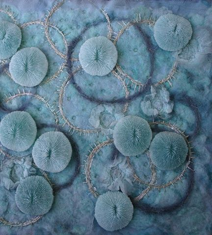 wool and silk embroidered wall hanging with cast resin embellishments - - Deborah Johnson