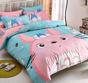 New-2015-Totoro-Neighbour-Bedding-Set-4pc-Queen-King-Bed-PINK-Cotton-Gift-RARE