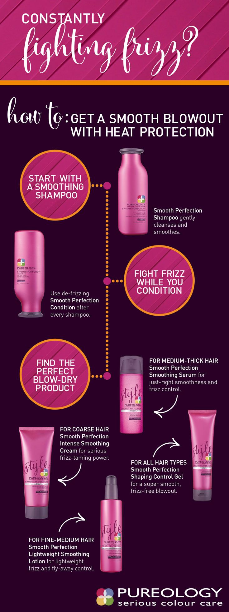 Frizzy hair is so no fun. Whatever your cause for frizz is, smooth it out with our Smooth Perfection line! Specially formulated for frizzy, color-treated hair, our Smooth Perfection haircare line will give you the smooth frizz free hair you want with the colour protection and antifade that you need!