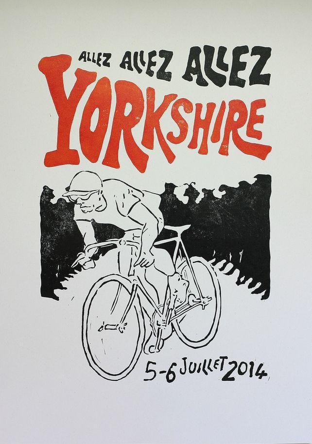 Yorkshire Grand Depart Tour de France inspired 'en danseuse blanc' A3 Bike print, by Sheffield Letterpress on Folksy, £18.00