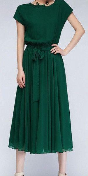 Modest Green Chiffon Midi Dress with short length sleeves | Mode-sty