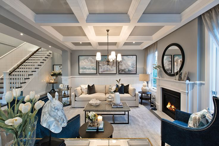 The sophisticated formal lounge in the Astor Grange with Classic Hamptons World of Style on display at Upper Point Cook.