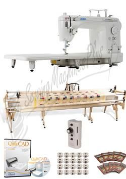"Juki TL-2000Qi 9"" Long-Arm Machine, Gracie King Frame, Grace Speed Control, 100 Needles, 20 Bobbins, Extension Table & QuiltCAD Software"