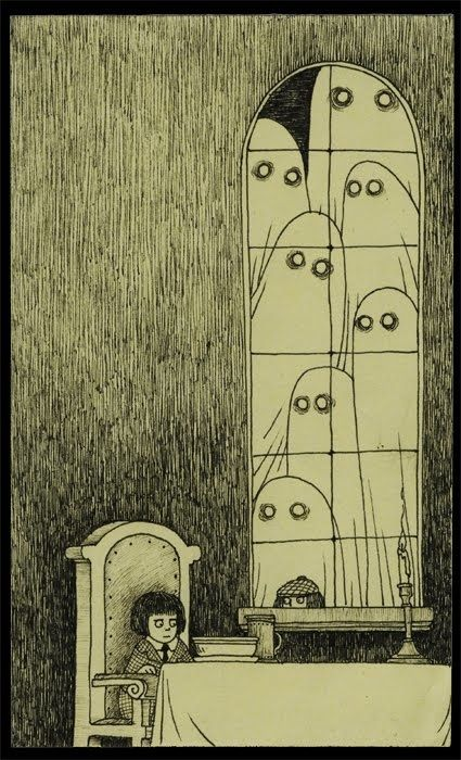 edward gorey. Honestly, I could paper my entire house with his illustrations. I LOVE his work.