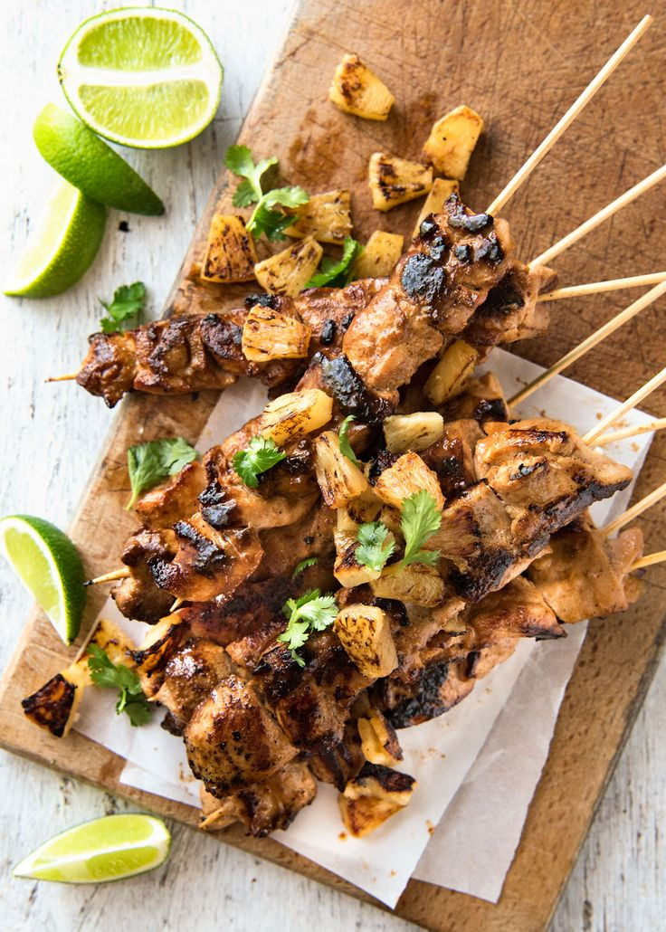 Hawaiian Marinated Chicken Kebabs–I LOVE the marinade!! Yummy coconut and pineapple flavour!