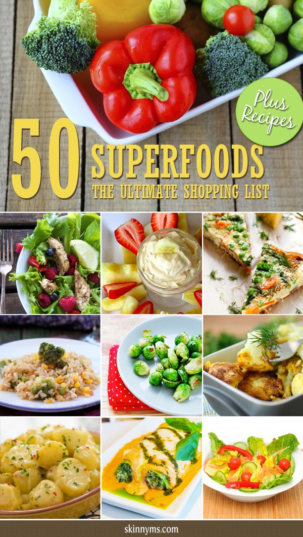 What exactly are superfoods?  Check out the The Ultimate Shopping List with 50 Superfoods and take it shopping with you!  #superfoods #shoppinglist #menuplanning