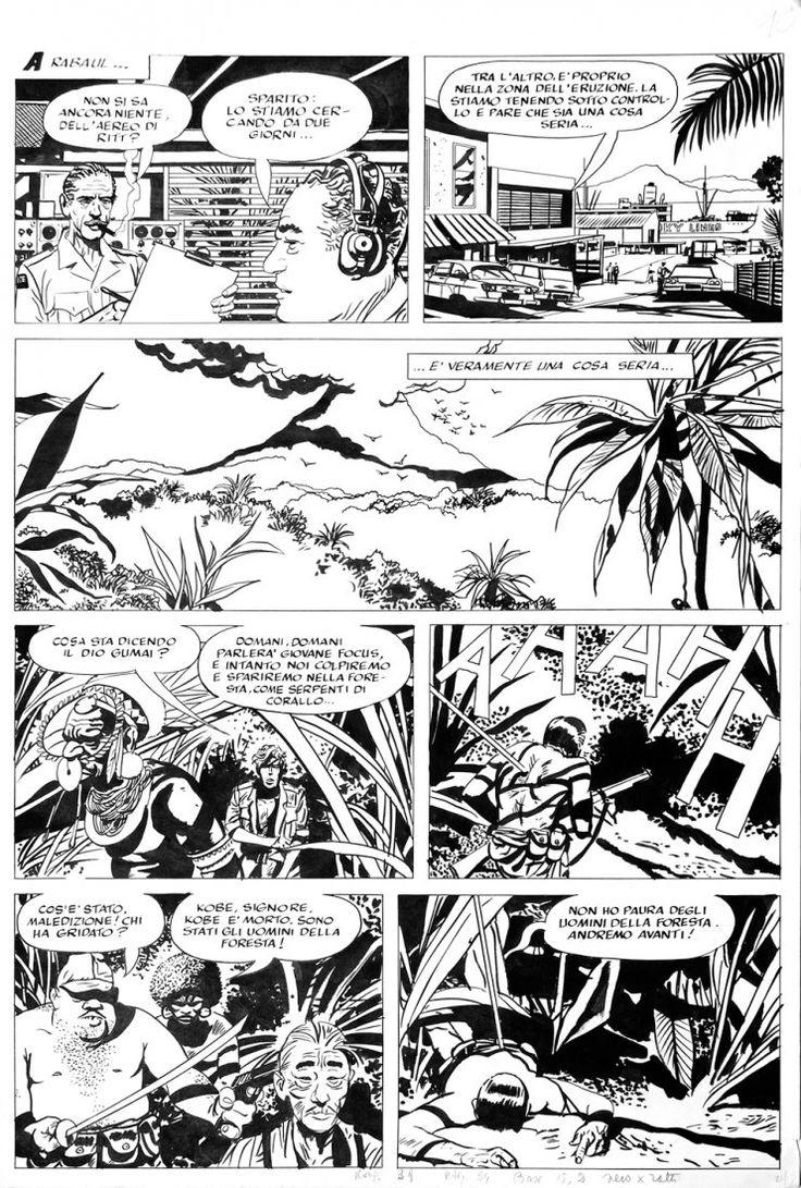 """Attilio Micheluzzi Johnny Focus Il tesoro di Kenzo Yamashita 2 tavole pubblicate nel """"Corriere dei Ragazzi"""" n°29, del 1975. Matita e china su cartoncino cm 40,5x60"""