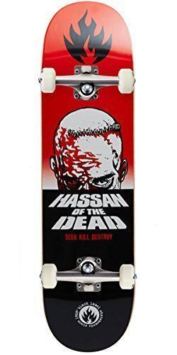 "Black Label Omar Hassan Dead Skateboard Complete – 8.38″: Deck Width: 8.38"" Deck Shape: Popsicle Deck Construction: Traditional Maple #deckconstruction"