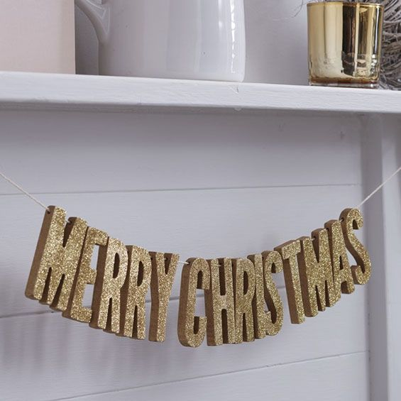 Wooden Merry Christmas Bunting - Gold