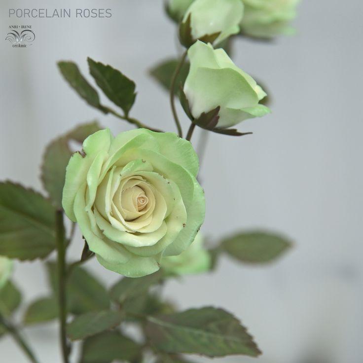 "Handmade ceramic flowers, every petal are handmade. Porcelain green roses ""Jade Green"" variety. I…»"