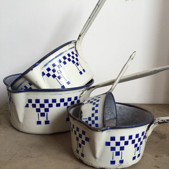 French vintage enamel sauce pans, enamelware pans, French vintage decor