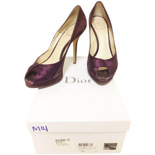 Pre-owned Dior Miss Peep Toe Heels Purple Pumps (2.318.400 IDR) ❤ liked on Polyvore featuring shoes, pumps, purple, court shoes, pre owned shoes, famous footwear, christian dior pumps and purple pumps