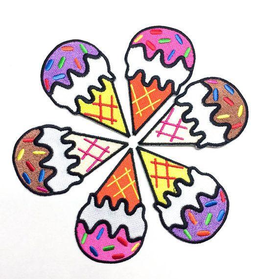 Patch de cône de crème glacée / repasser / Pink cornet de crème glacée / tatouage Appliqué / broderie / bricolage veste en Jean