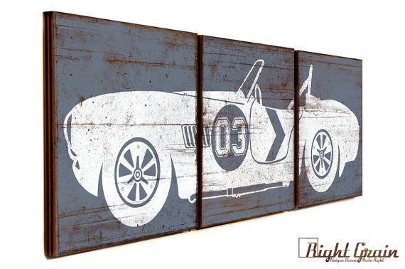 Vintage Race Car Wall Art Boys Nursery Decor by RightGrain