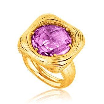 Italiensk Designad Ring i 14K Gult Guld med Lila Ametist www.tessard.se