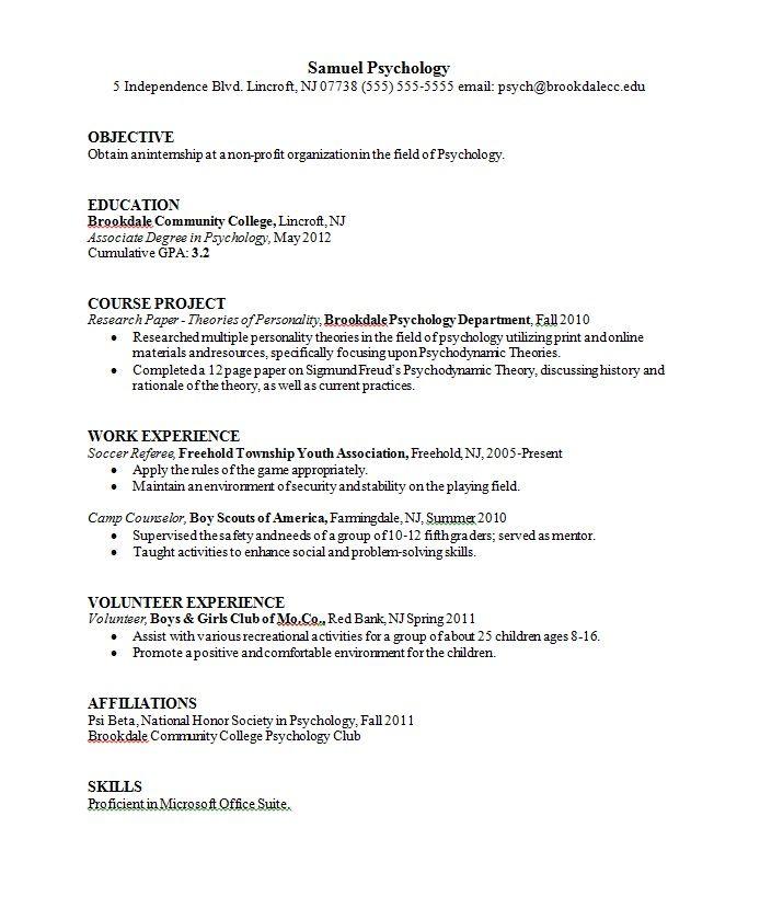 Cv Template Psychology Resume Format Sample Resume Format Resume Template Sample Resume